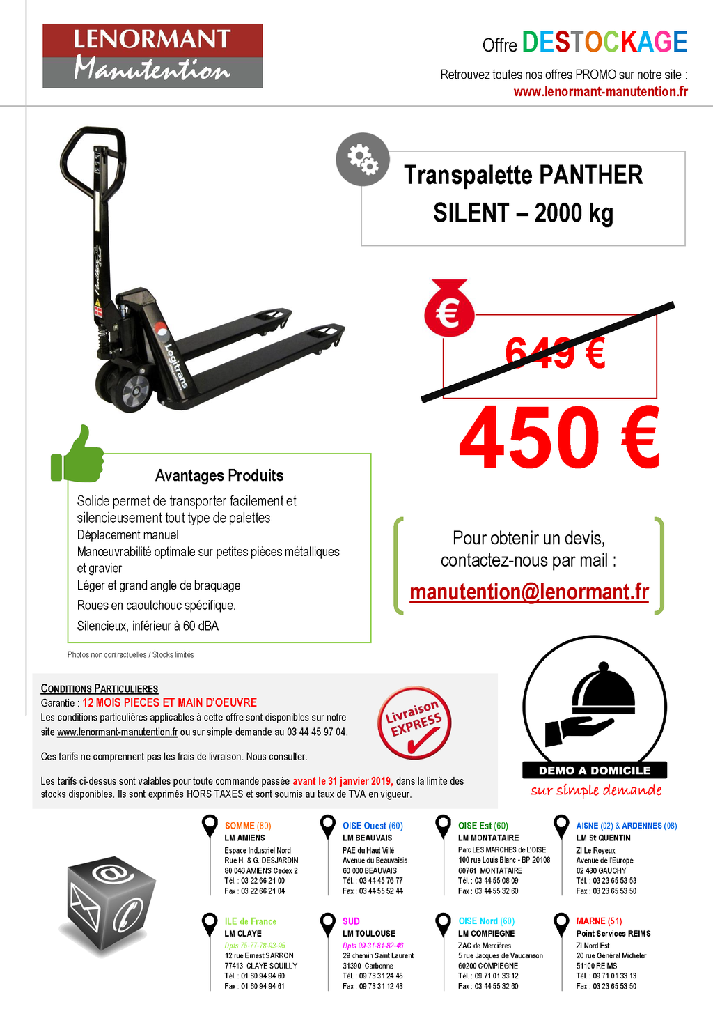 DESTOCKAGE Transpalette SILENCIEUX Panther LOGITRANS