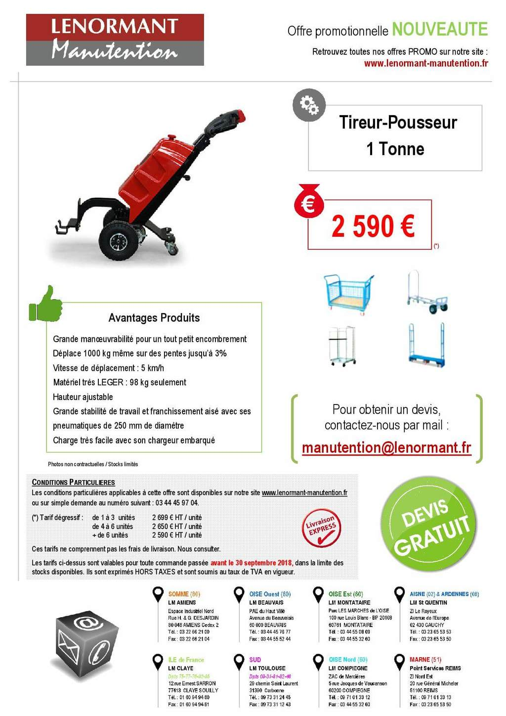 QDD10 Lenormant Manutention tireur-pousseur